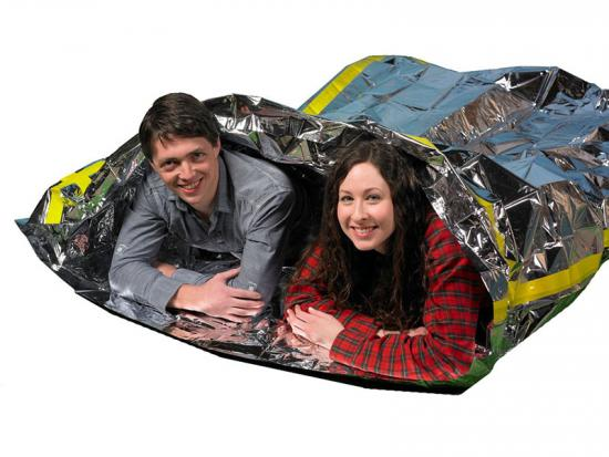 Foldable emergency mylar sleeping bag
